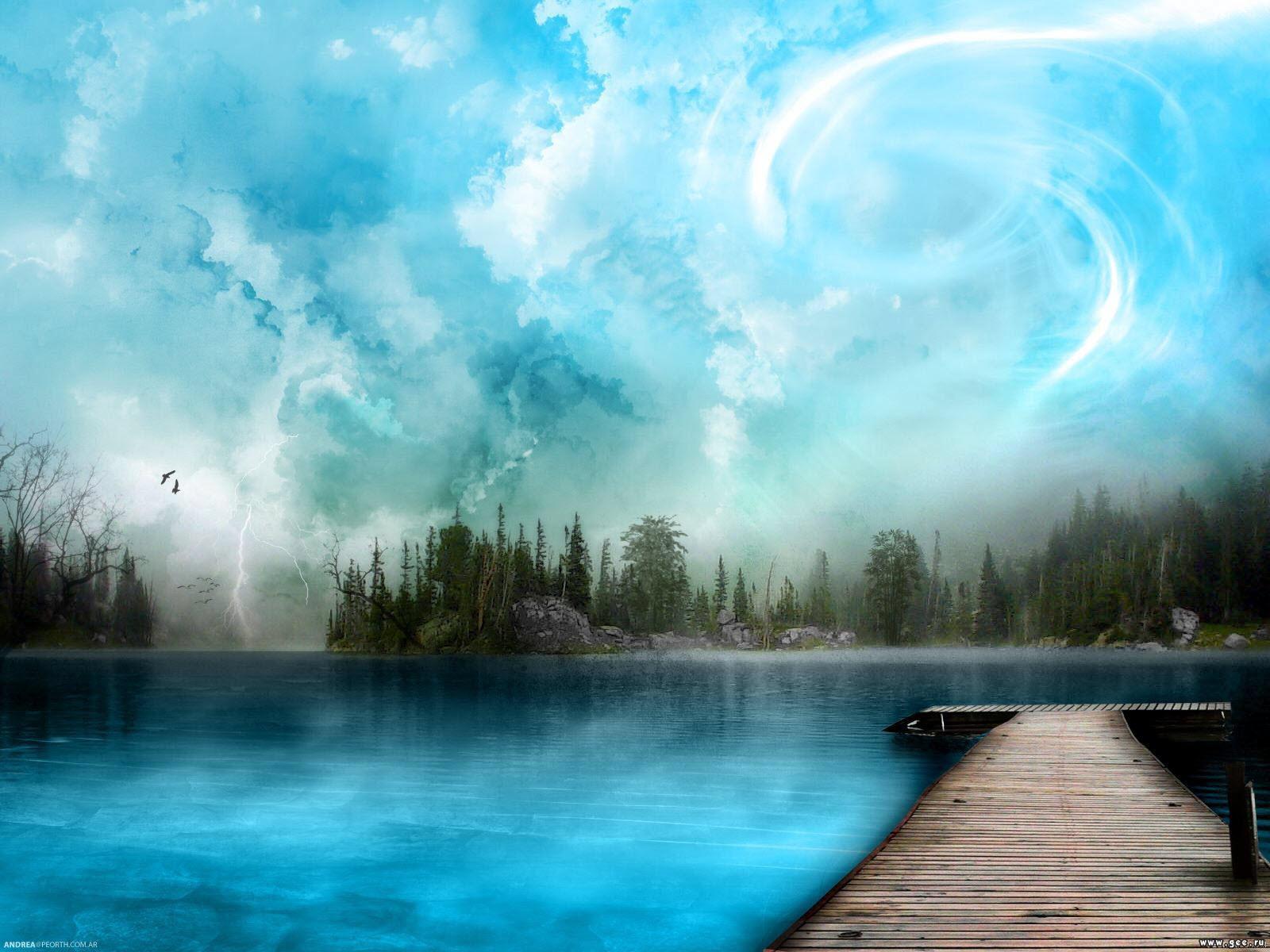 pont illustration décor bleu